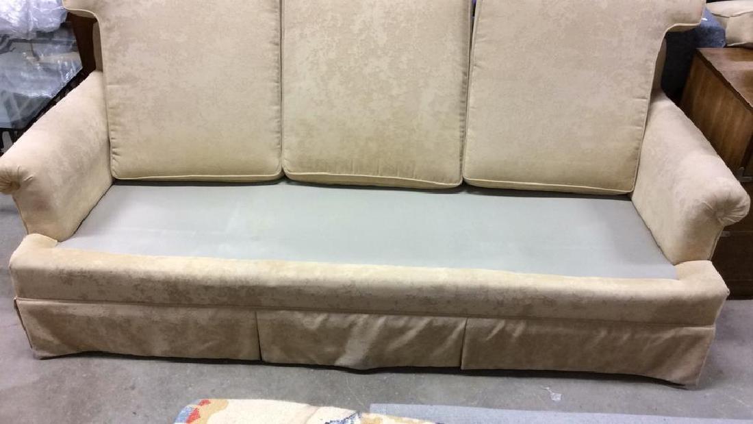 Lot PaleYellow Toned Textured Sofa W Throw Pillows - 5