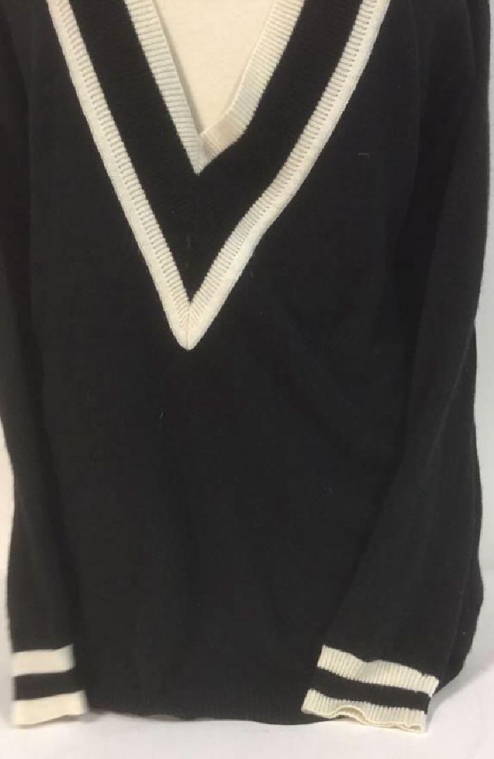 Minnie Rose Black w White Cashmere Sweater