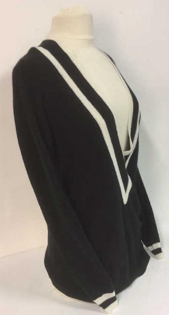 Minnie Rose Black w White Cashmere Sweater - 4