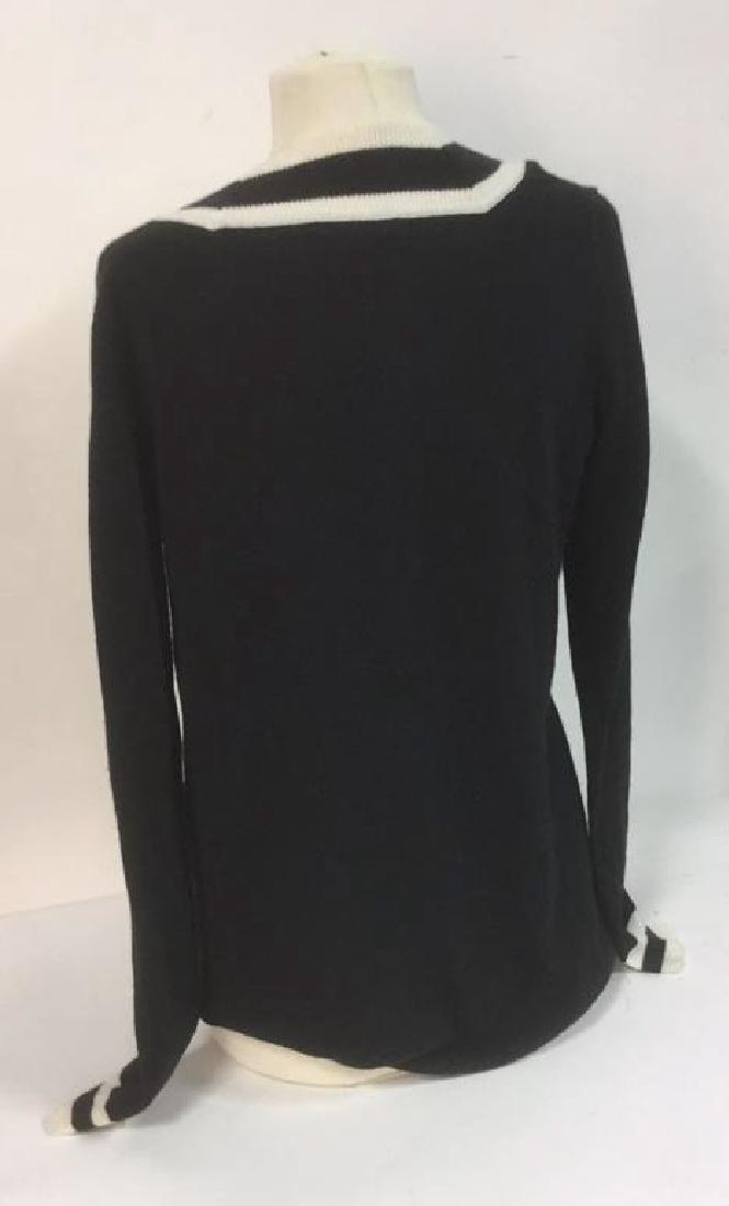 Minnie Rose Black w White Cashmere Sweater - 5