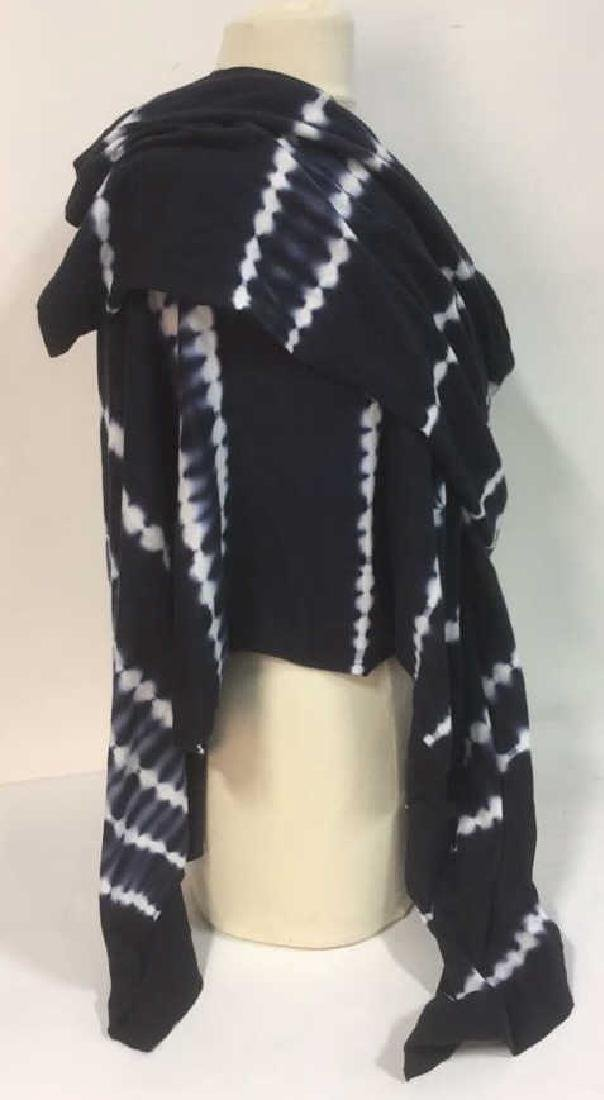 Minnie Rose Cashmere Navy White Wrap - 3