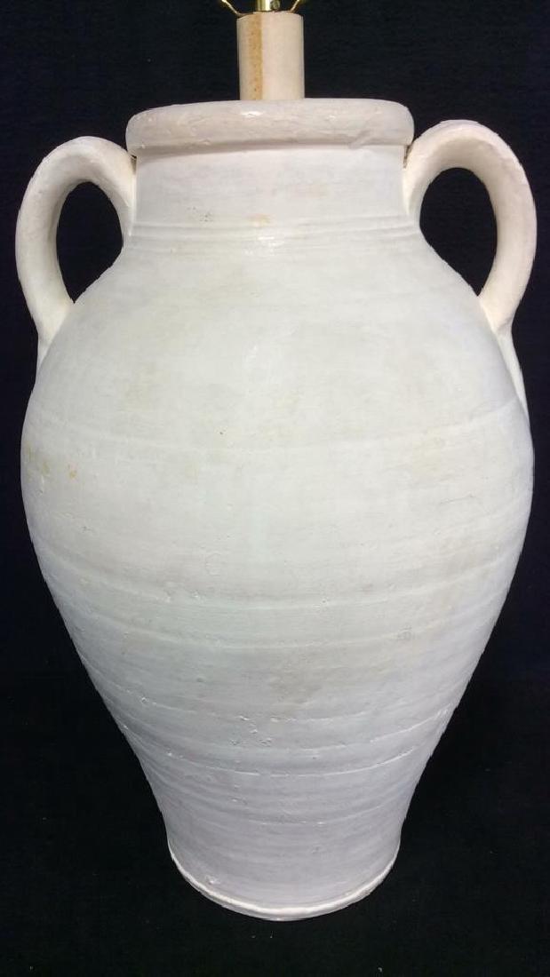 White Toned Ceramic Lamp W Handles