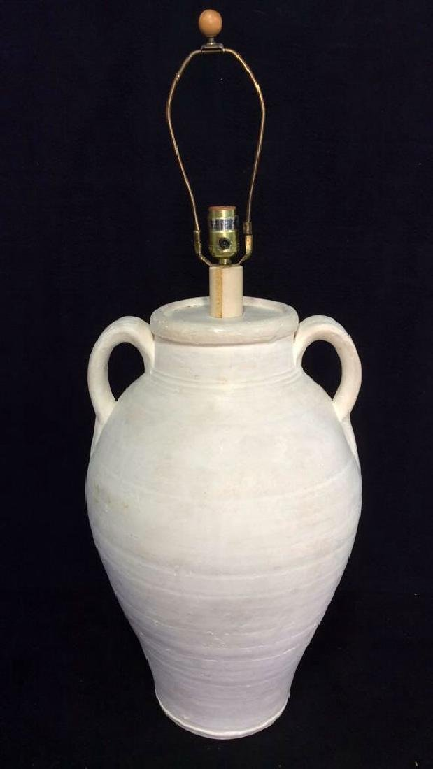 White Toned Ceramic Lamp W Handles - 2