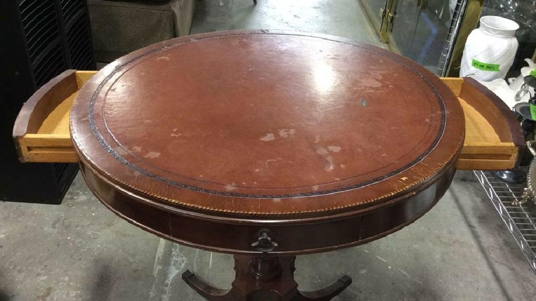 Round 2 Drawer Wooden Side Table W Casters - 2