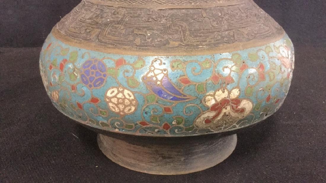 Vintage Possibly Antique Japanese Cloisonne Vase - 7