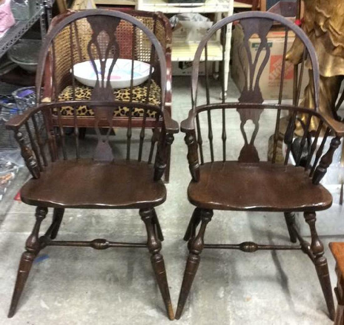 Pair Chocolate Brown Windsor Arm Chairs