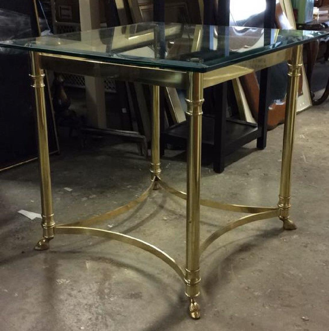 Brass Side Table W Beveled Glass Top - 2