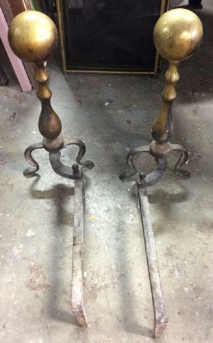 Pair Gold & Black Toned Brass & Iron Andirons