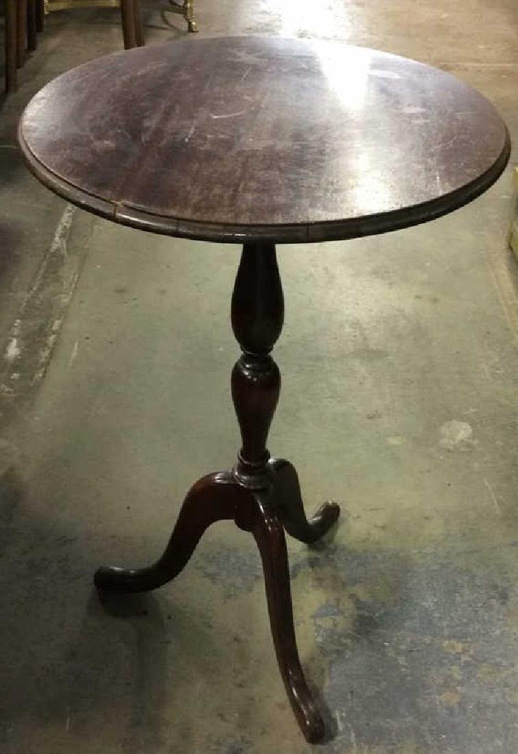 Wooden Round Pedestal End Table