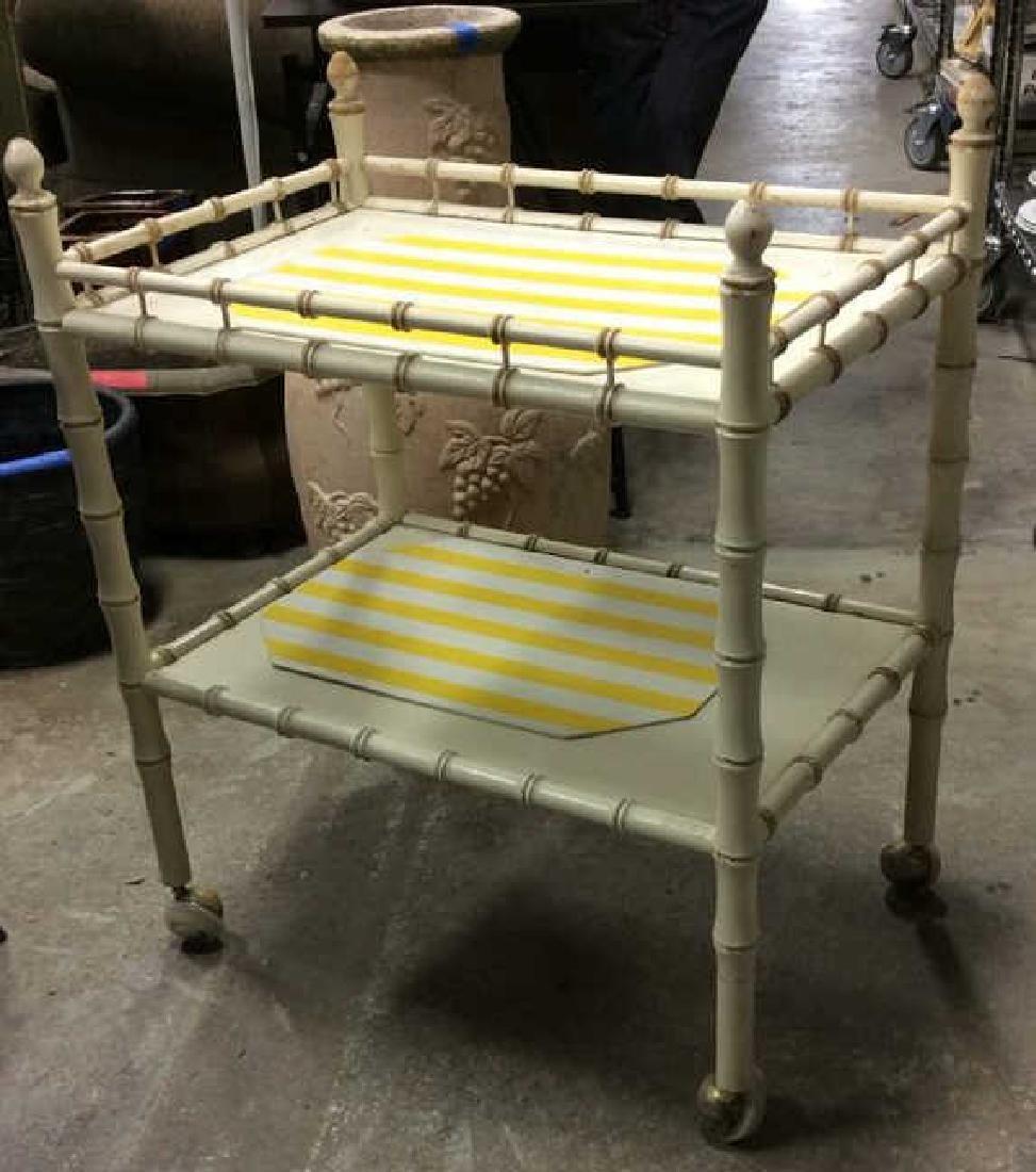 Vintage Bamboo Style Tea Cart - 2