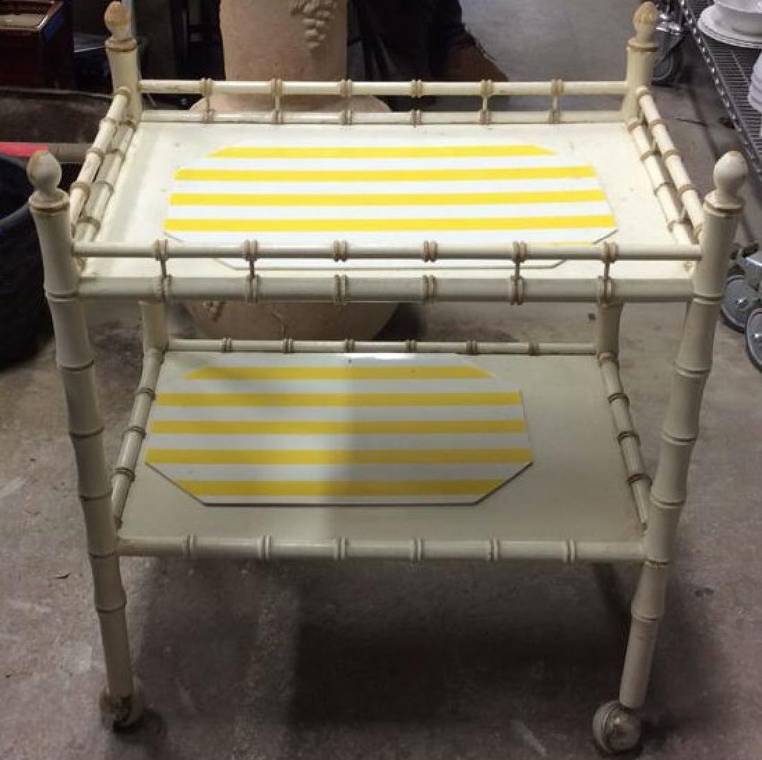 Vintage Bamboo Style Tea Cart - 3