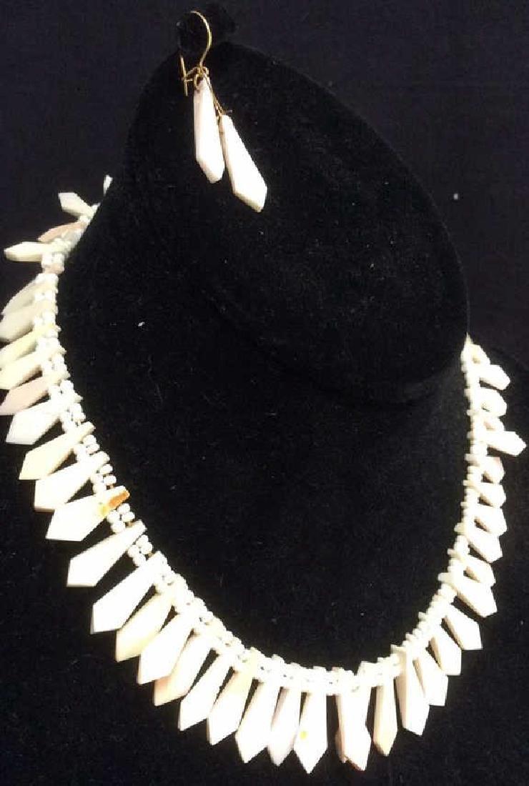 Set Shell Necklace w Earrings - 3