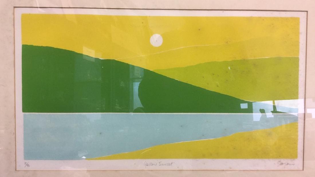John Sovjani Lithograph Titled Yellow Sunset