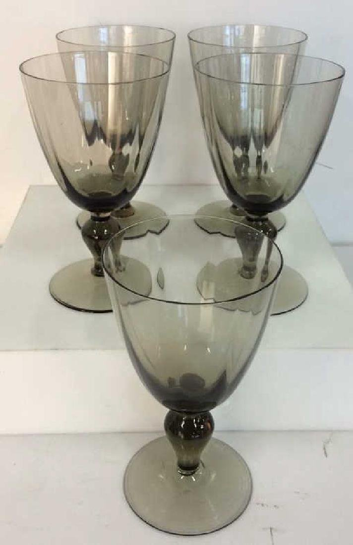 Set 5 Smokey Glass Crystal Goblets - 2