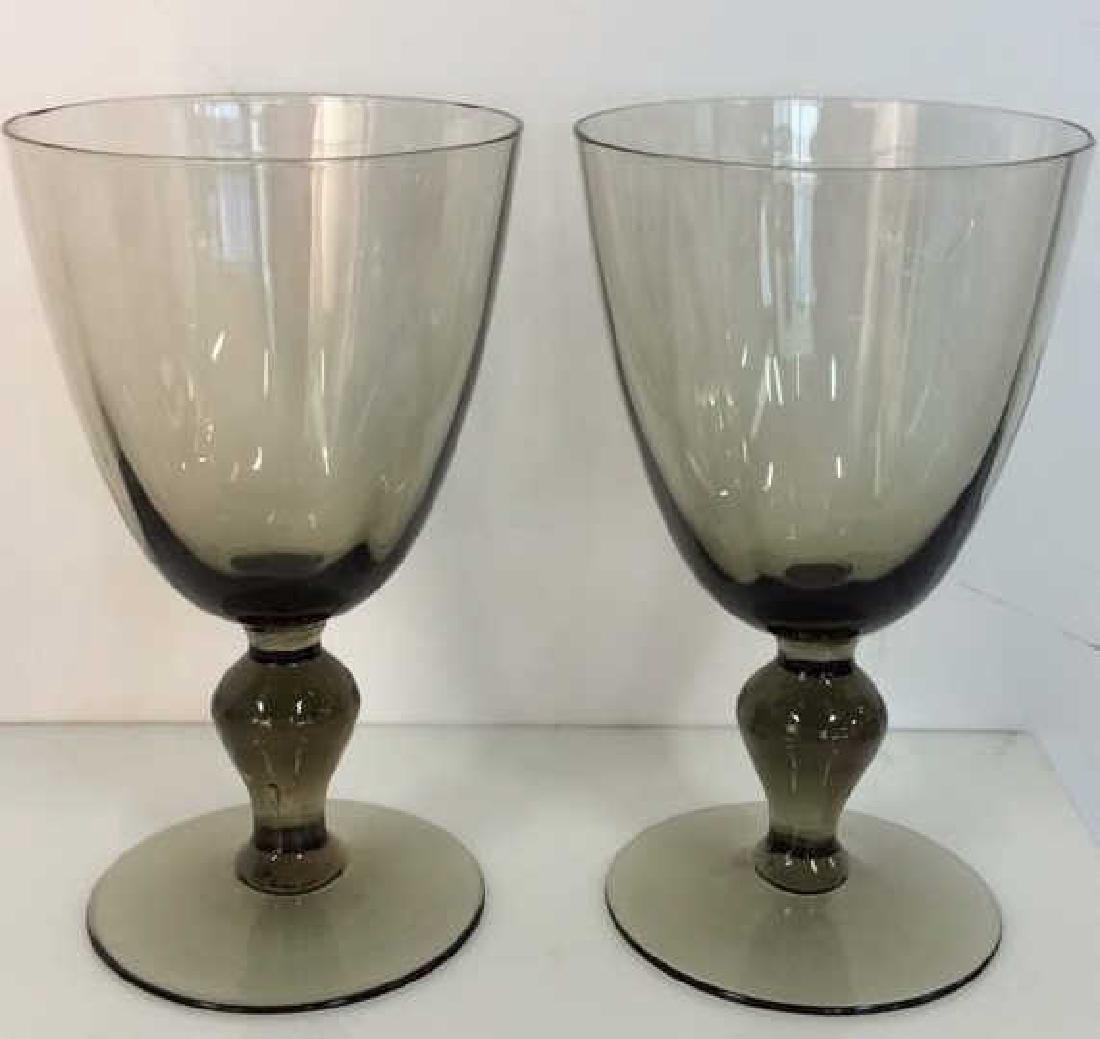 Set 5 Smokey Glass Crystal Goblets - 3