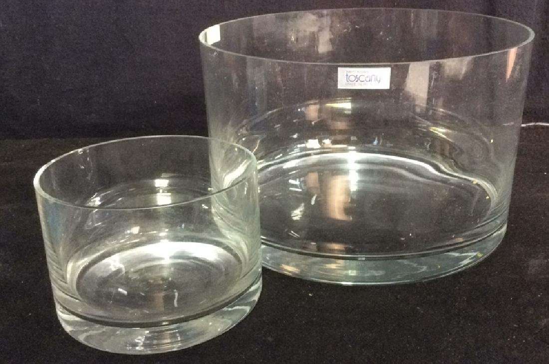 Lot 2 Hand Blown TOSCANY Glass Bowlsor Vases