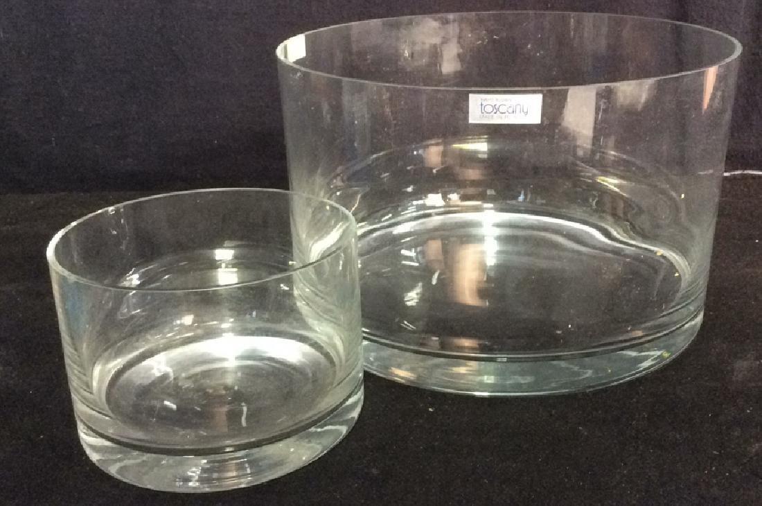 Lot 2 Hand Blown TOSCANY Glass Bowlsor Vases