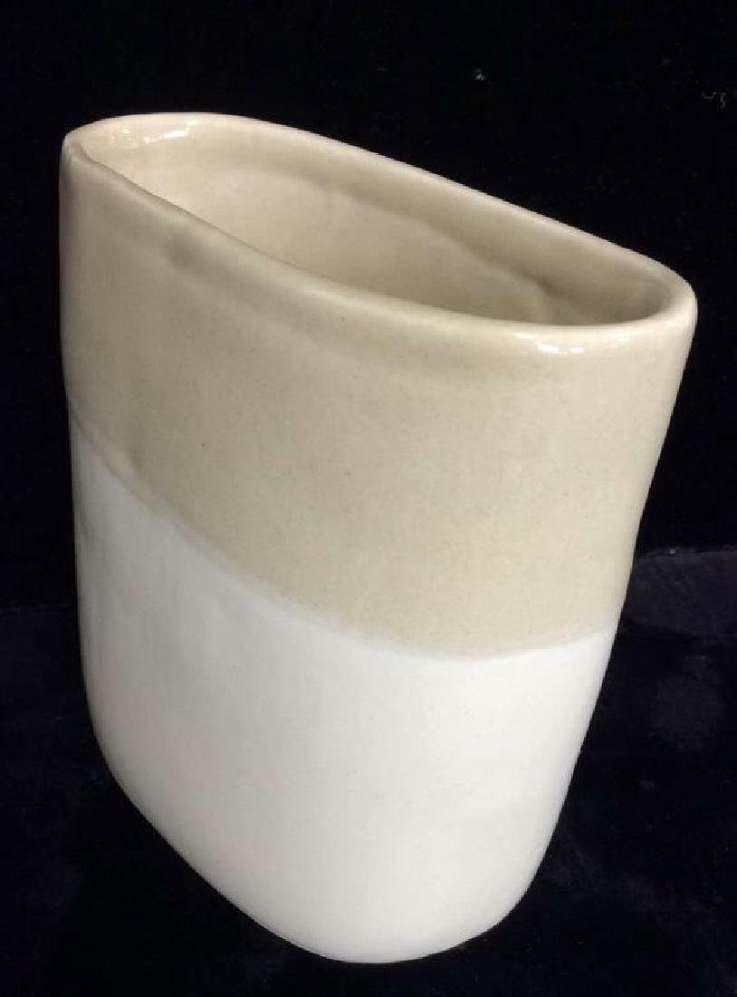 Signed Ceramic Two Toned Vase - 2
