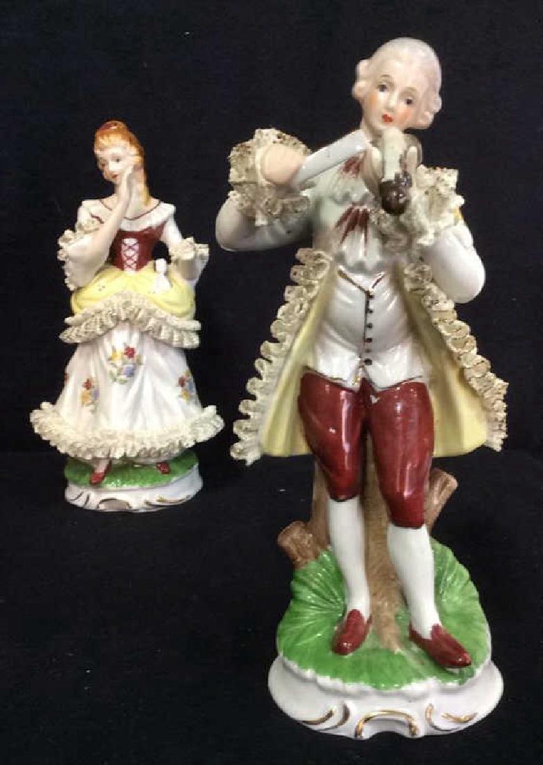 Lot 2 Vintage Victorian Porcelain Figures - 5