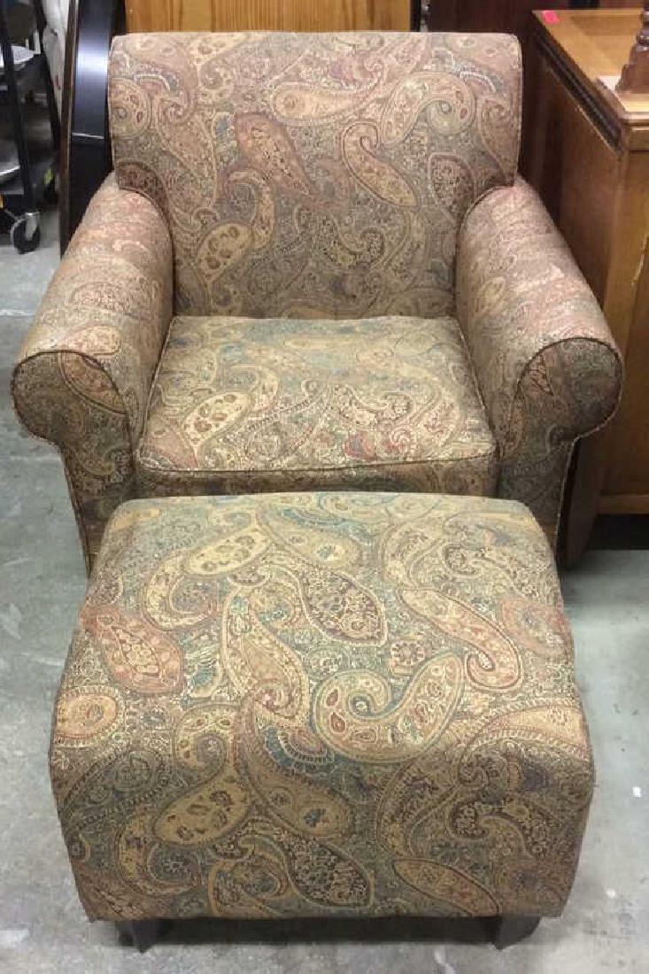 Lot 2 Multi Toned Matching Armchair & Ottoman - 2
