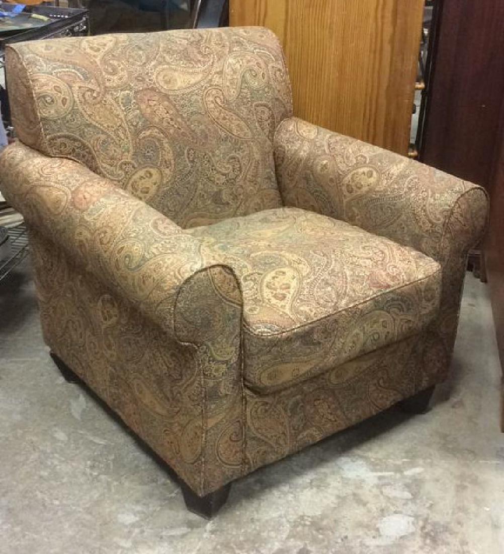 Lot 2 Multi Toned Matching Armchair & Ottoman - 6