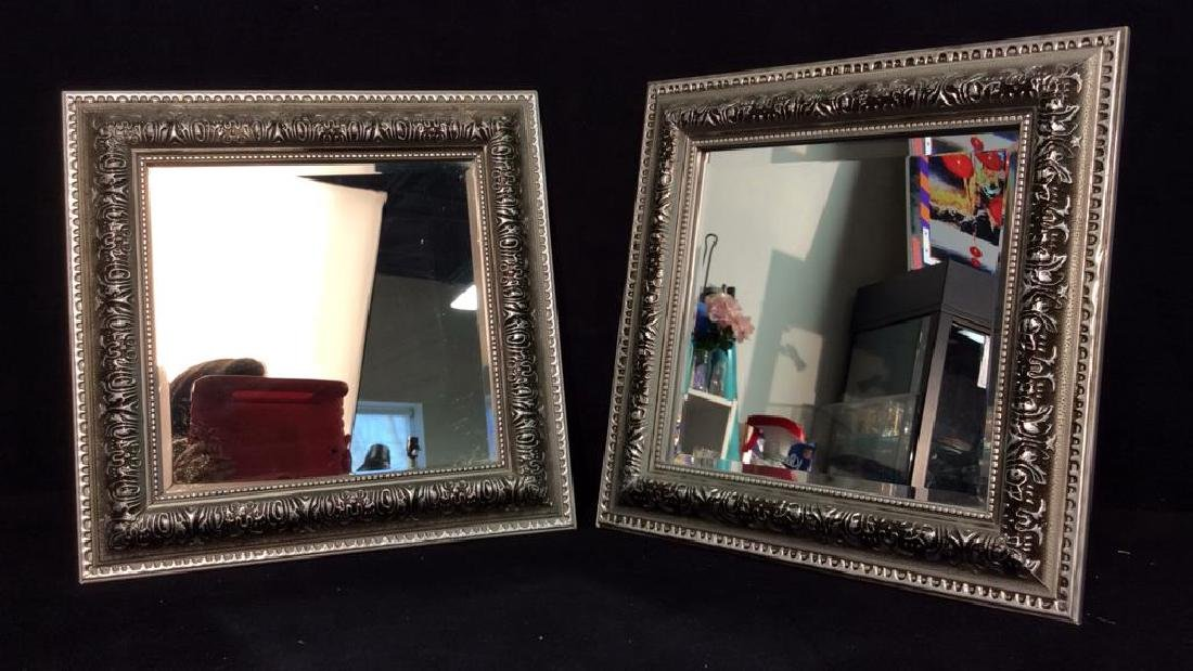 Pair Silver Toned Painted Wooden Framed Mirrors