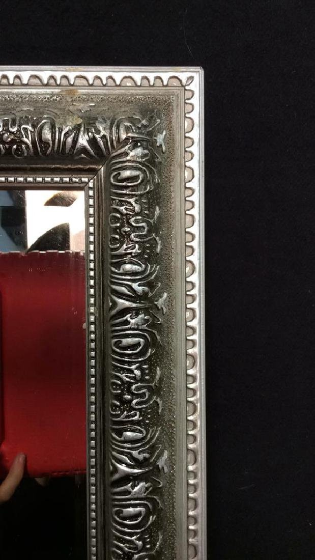 Pair Silver Toned Painted Wooden Framed Mirrors - 3