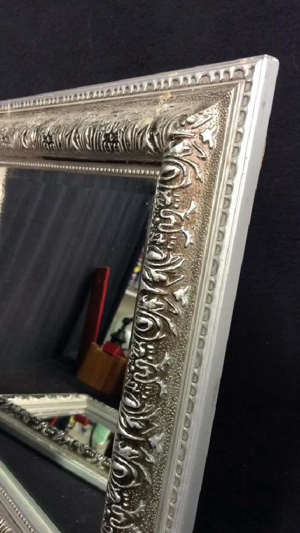 Pair Silver Toned Painted Wooden Framed Mirrors - 4