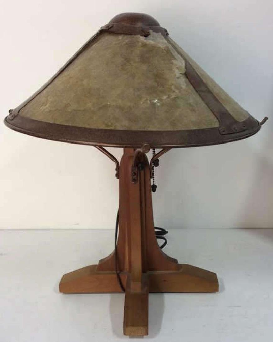 Arts and Crafts Wood and Copper Lamp w Shade