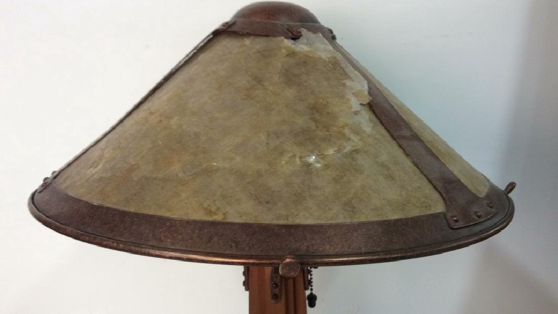 Arts and Crafts Wood and Copper Lamp w Shade - 3