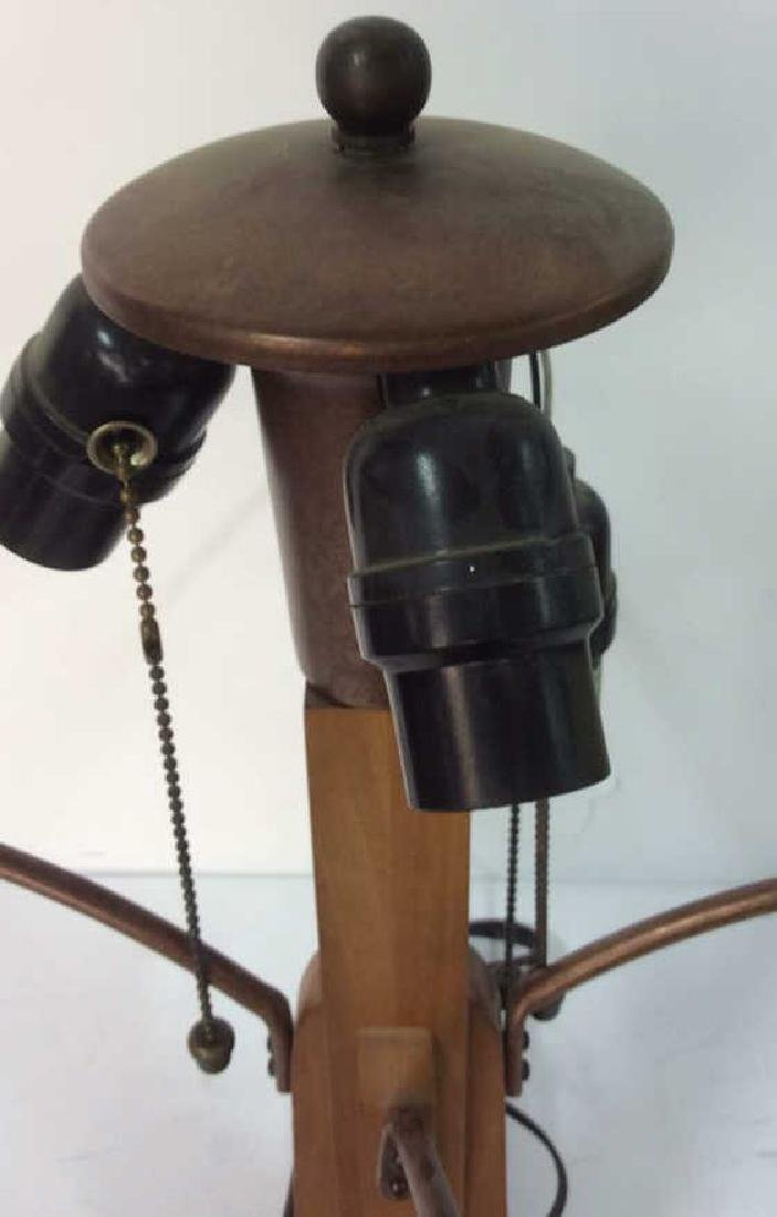 Arts and Crafts Wood and Copper Lamp w Shade - 7