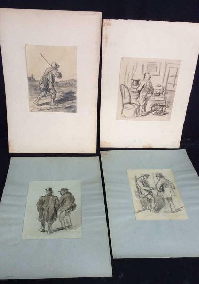 Lot 4 Abel Damourette Charcoal Sketches, France