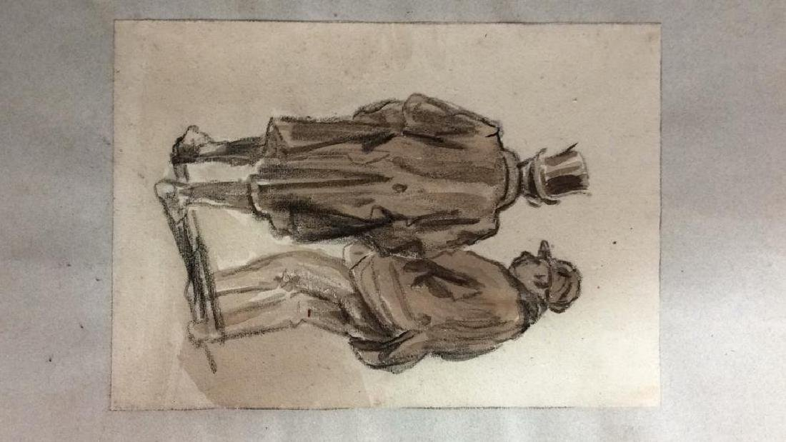 Lot 4 Abel Damourette Charcoal Sketches, France - 4