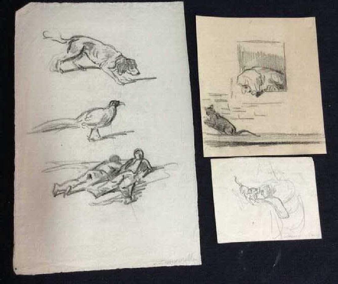 Lot 3 Abel Damourette Charcoal Sketches