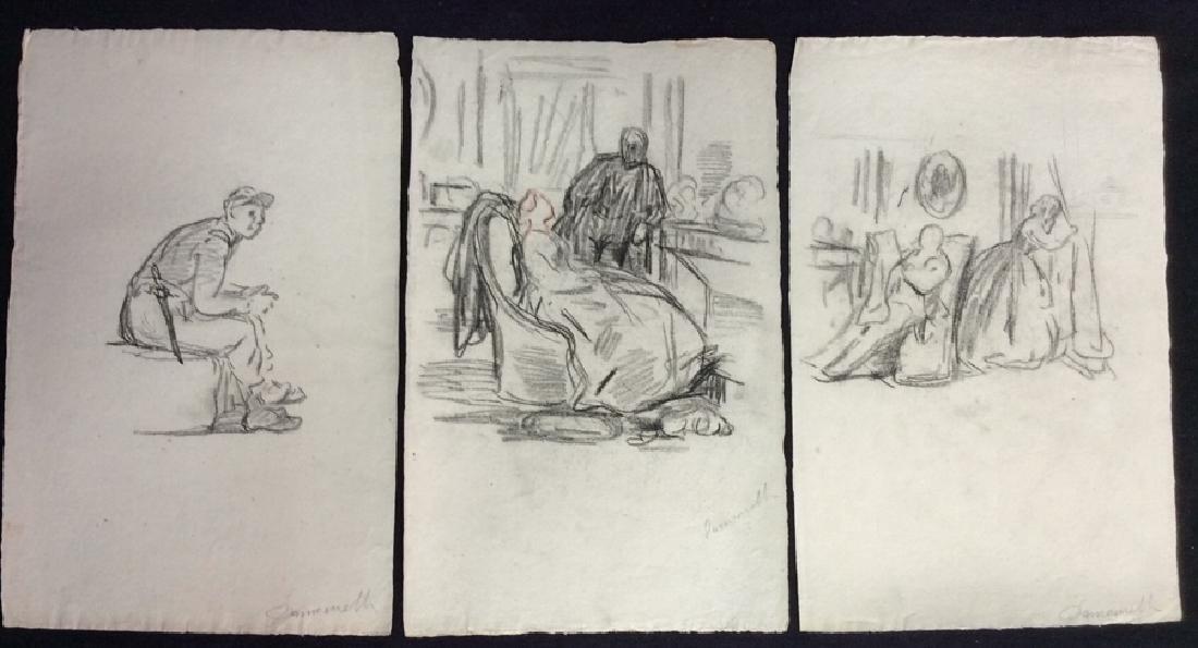 Lot 3 Abel Damourette Signed Charcoal Sketches