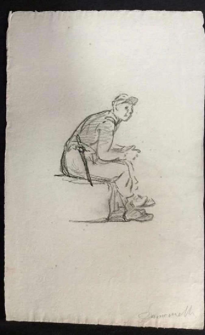 Lot 3 Abel Damourette Signed Charcoal Sketches - 2