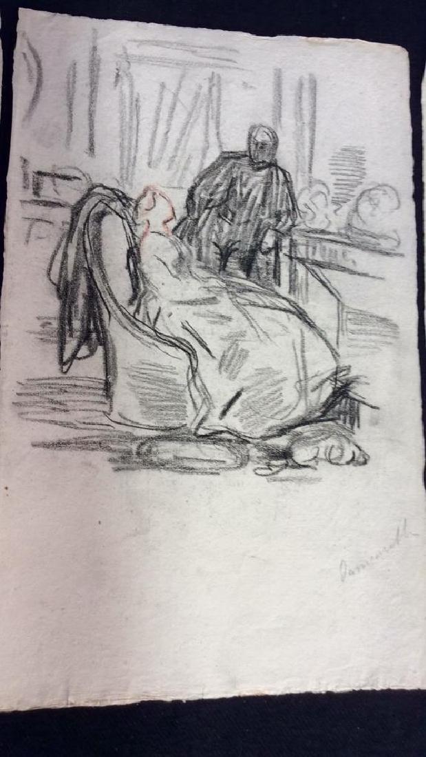 Lot 3 Abel Damourette Signed Charcoal Sketches - 4