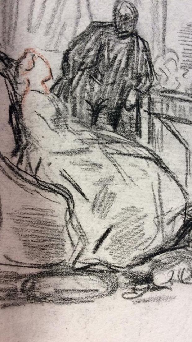 Lot 3 Abel Damourette Signed Charcoal Sketches - 6