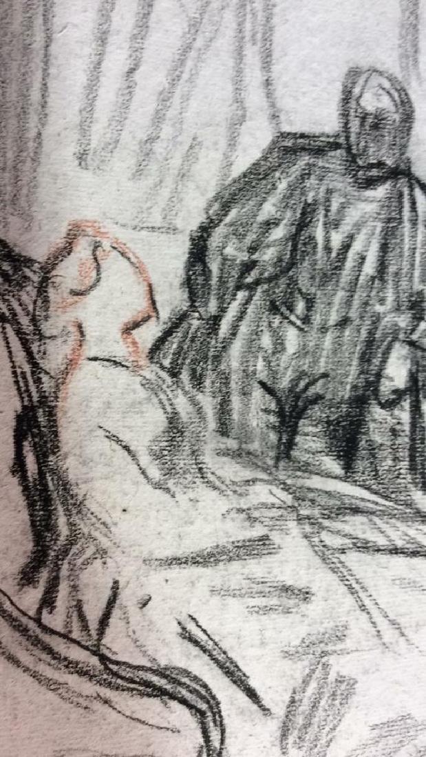 Lot 3 Abel Damourette Signed Charcoal Sketches - 7