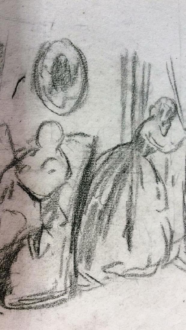 Lot 3 Abel Damourette Signed Charcoal Sketches - 8