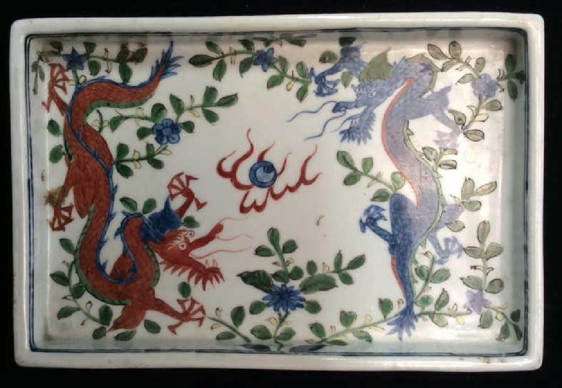 White Toned Painted Porcelain Dragon Trinket Tray