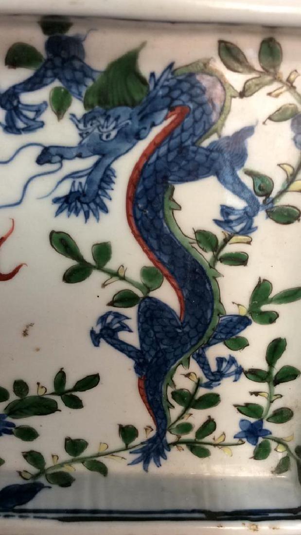 White Toned Painted Porcelain Dragon Trinket Tray - 2