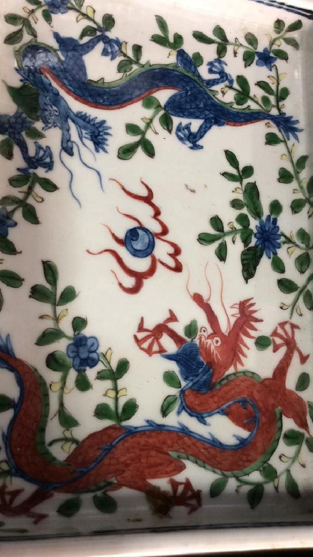 White Toned Painted Porcelain Dragon Trinket Tray - 3
