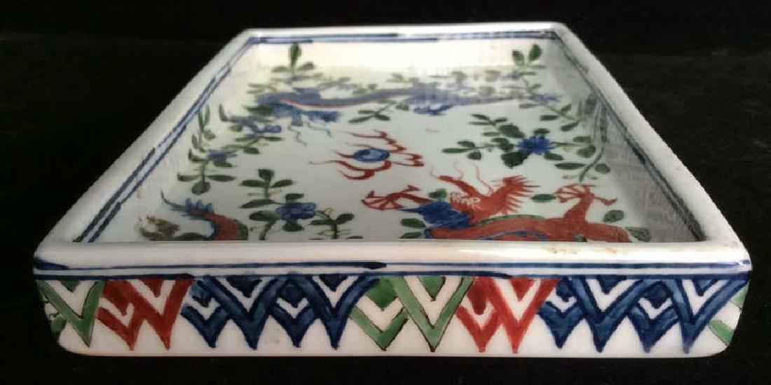 White Toned Painted Porcelain Dragon Trinket Tray - 4