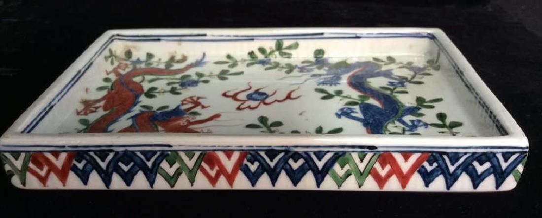 White Toned Painted Porcelain Dragon Trinket Tray - 5
