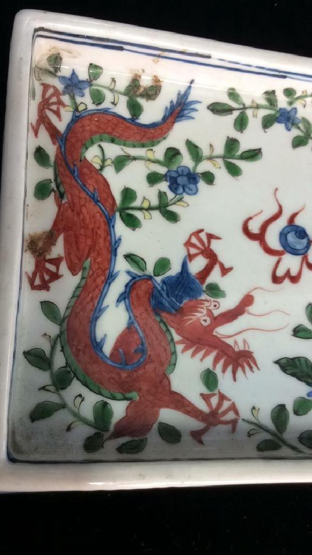 White Toned Painted Porcelain Dragon Trinket Tray - 6