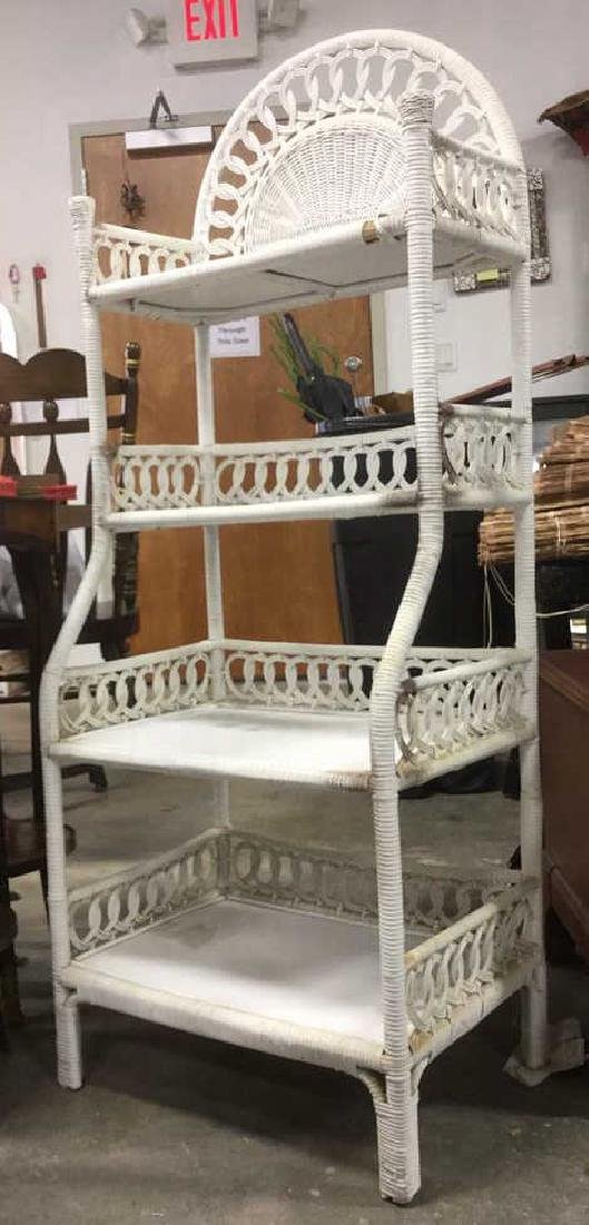 White Toned Wicker and Wood Shelves - 3