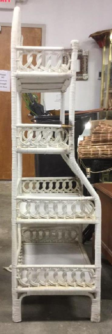 White Toned Wicker and Wood Shelves - 4