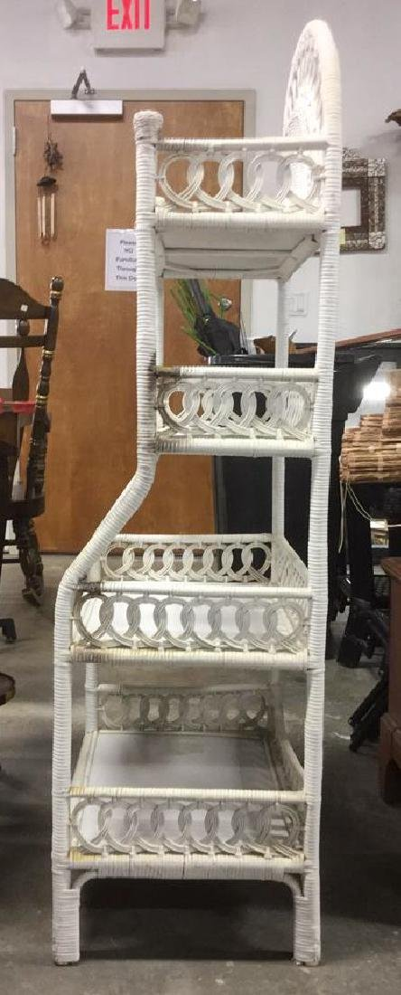 White Toned Wicker and Wood Shelves - 5