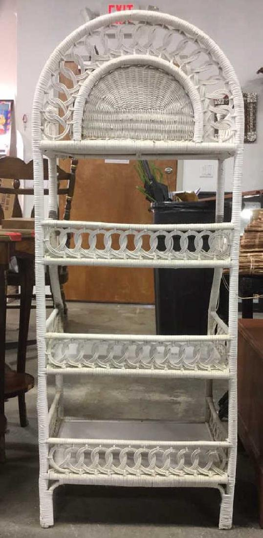 White Toned Wicker and Wood Shelves - 6